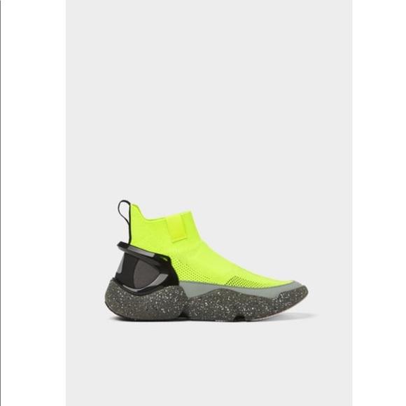 Zara Shoes | Zara Neon Green Sock